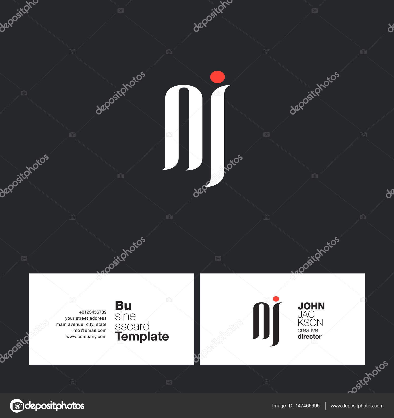 NJ Letters Logo Business Card — Stock Vector © brainbistro #147466995