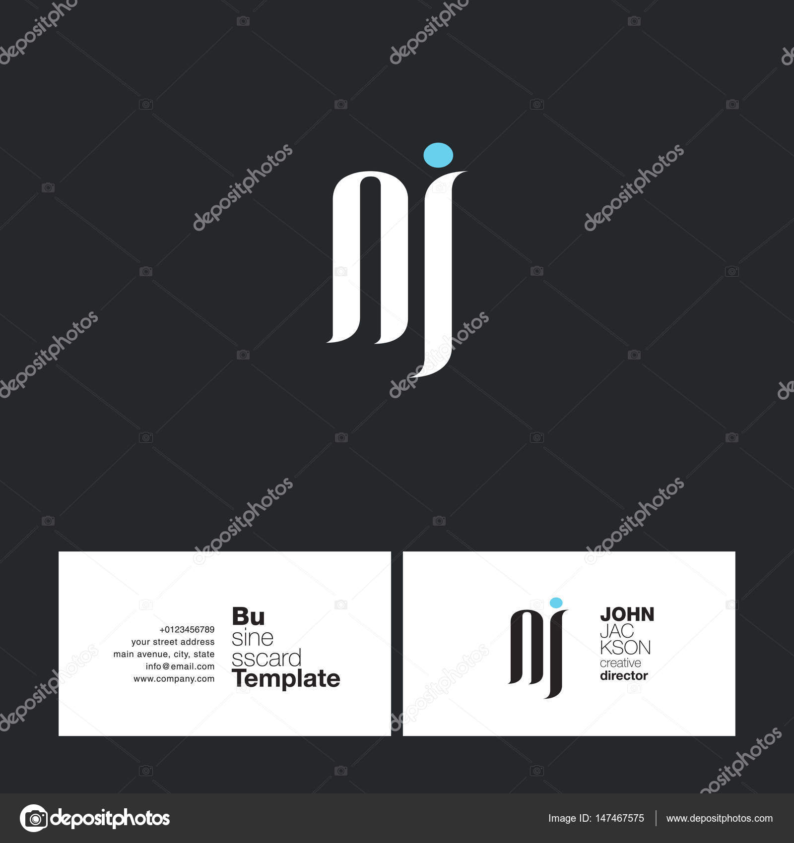 NJ Letters Logo Business Card — Stock Vector © brainbistro #147467575