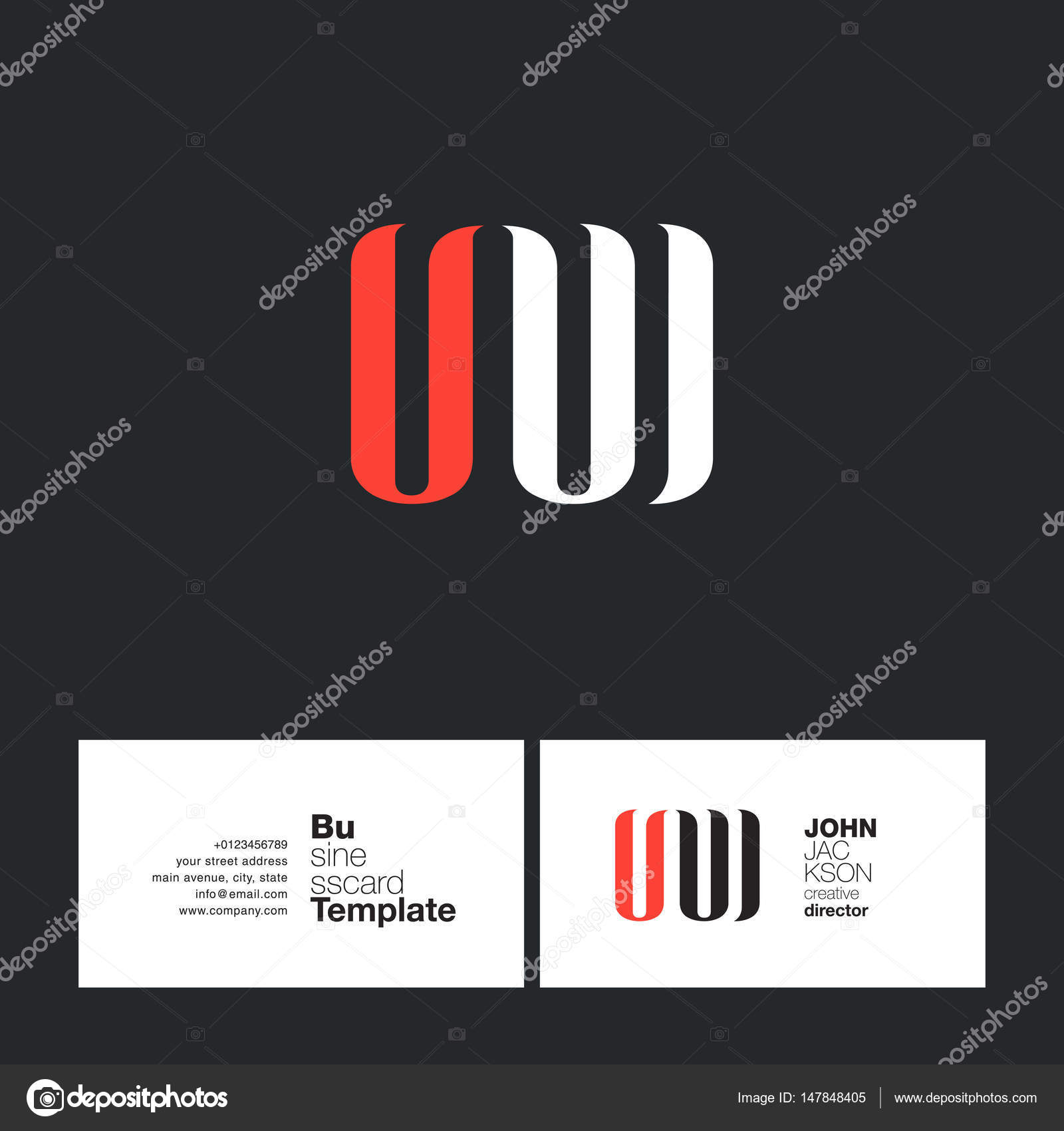 UW Letters Logo Business Card — Stock Vector © brainbistro #147848405
