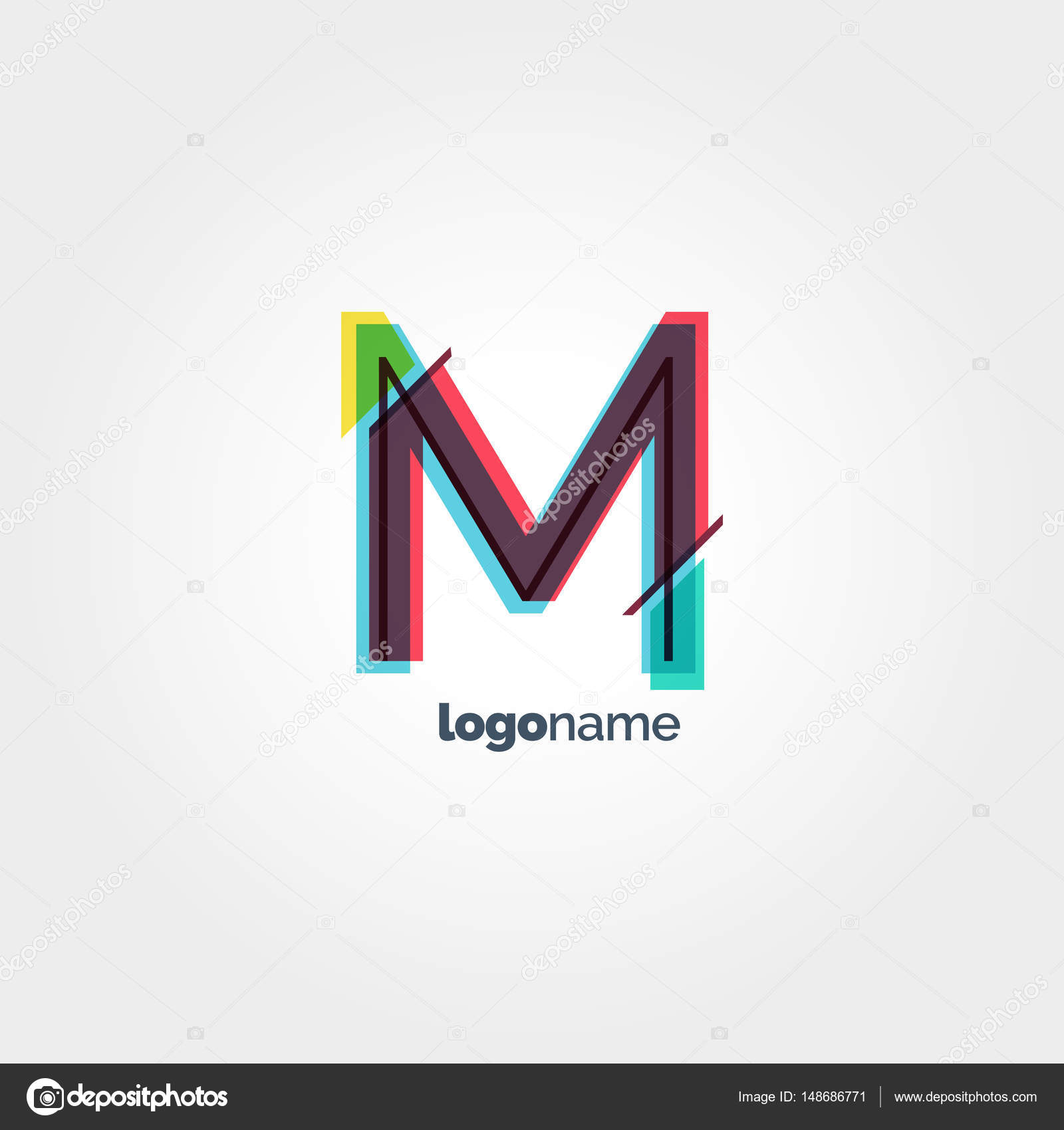 Szablon Logo Litera M Grafika Wektorowa Brainbistro 148686771