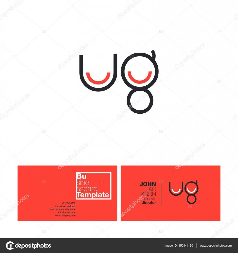Ug Buchstaben Logo Visitenkarte Stockvektor Brainbistro