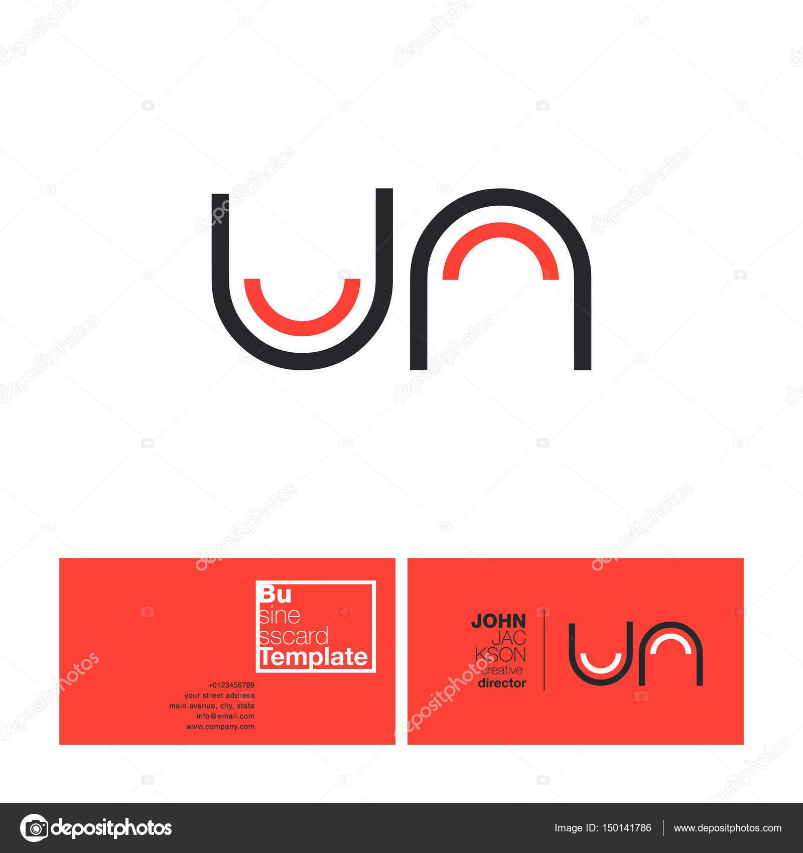 UN Letters Logo Business Card — Stock Vector © brainbistro
