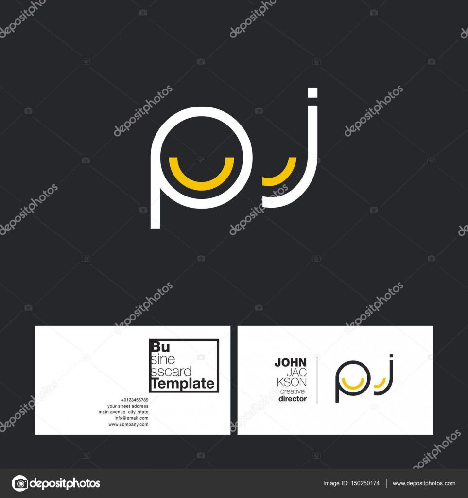PJ Letters Logo Business Card — Stock Vector © brainbistro