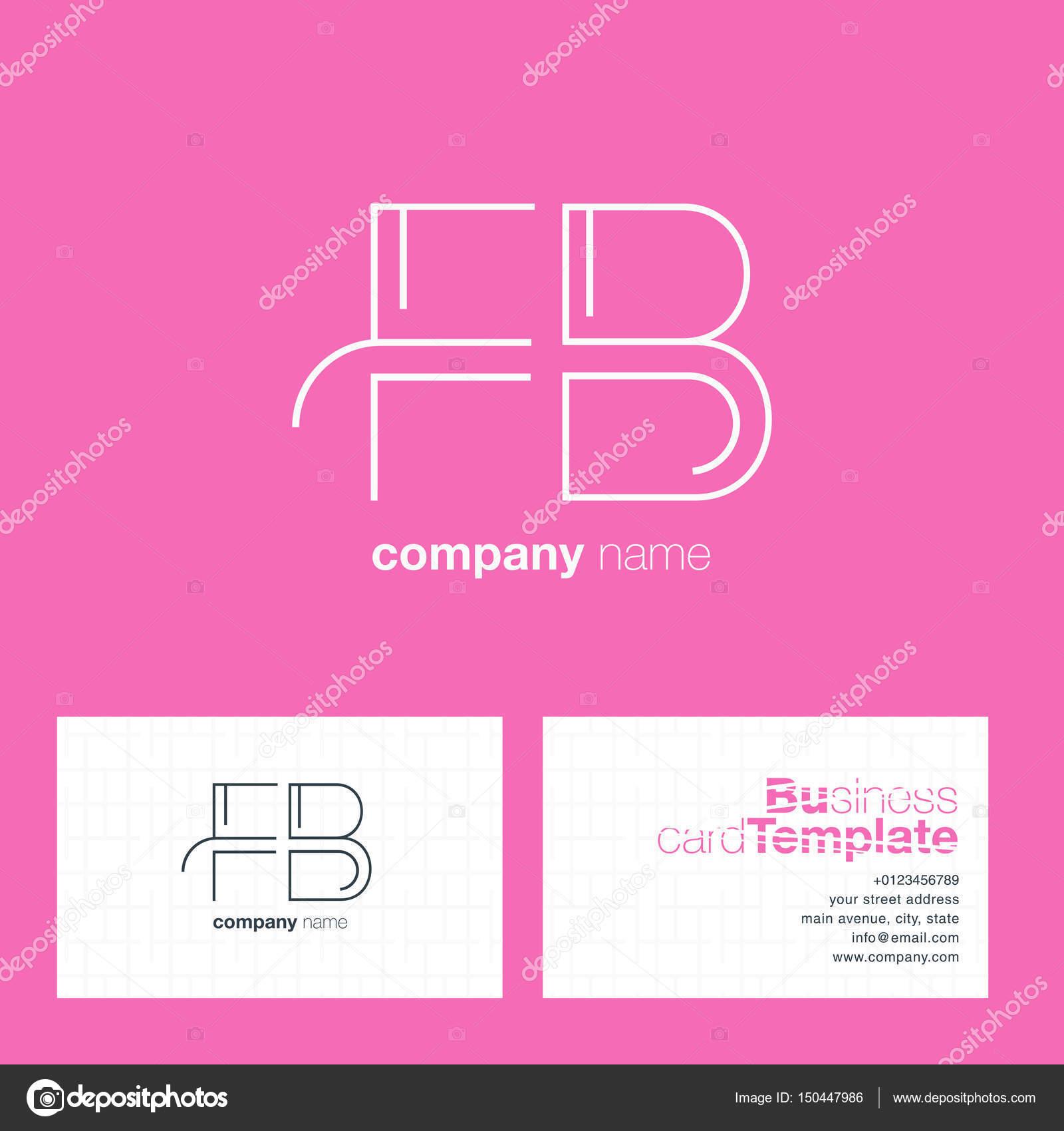 FB Lettres Logo Carte De Visite Image Vectorielle