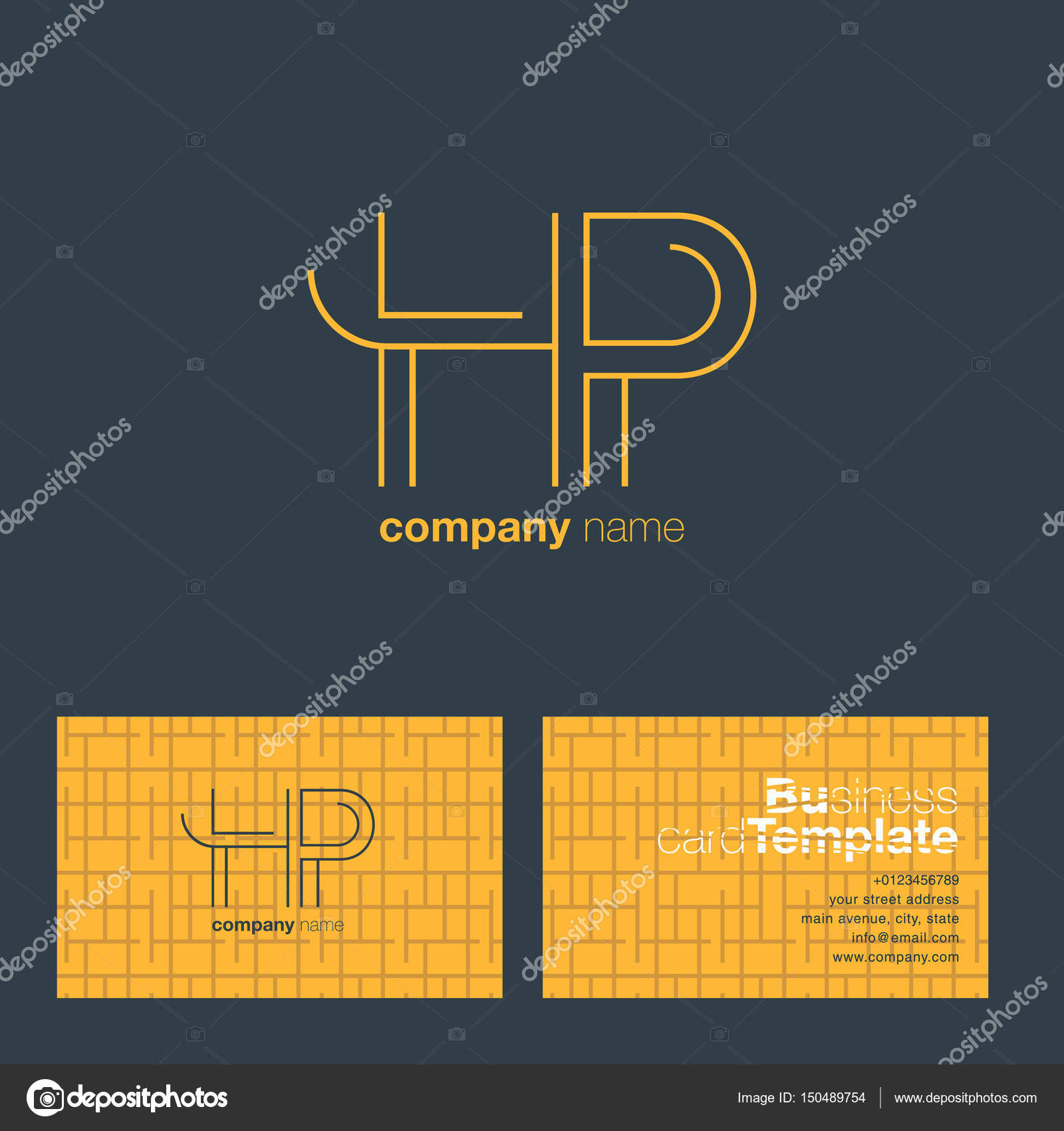 Hp Letters Logo Business Card Stock Vector Brainbistro 150489754