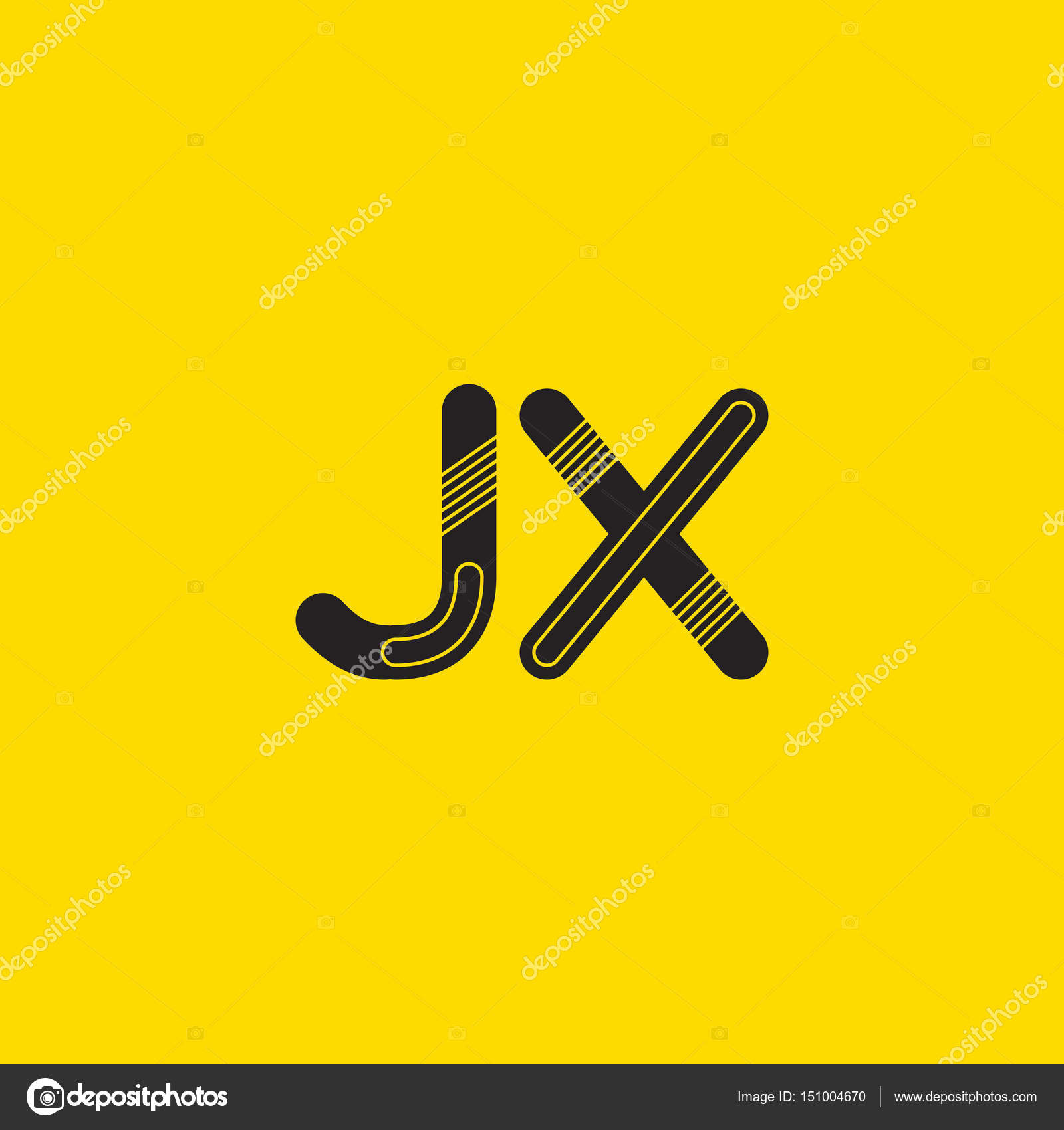 Jx Connected Letters Logo Stock Vector