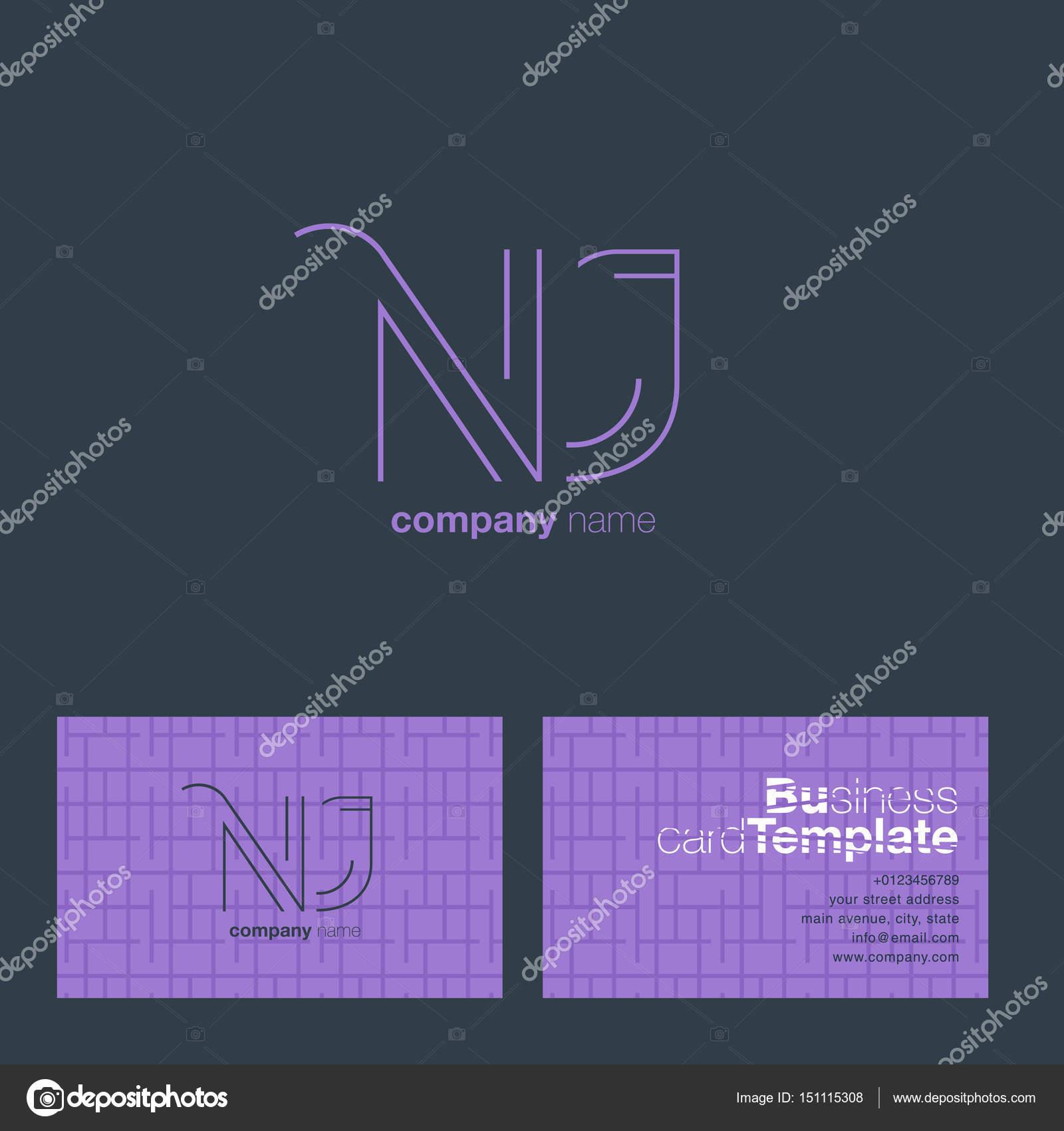 NJ Letters Logo Business Card — Stock Vector © brainbistro #151115308
