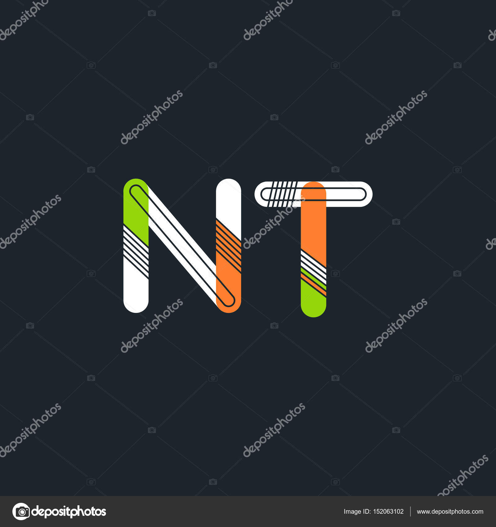 Nt Connected Letters Logo Stock Vector Brainbistro 152063102