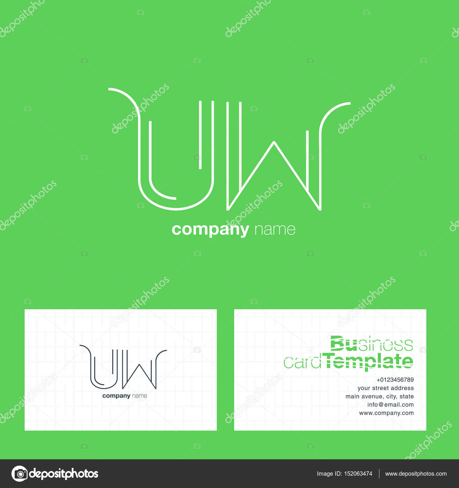 UW Letters Logo Business Card — Stock Vector © brainbistro #152063474