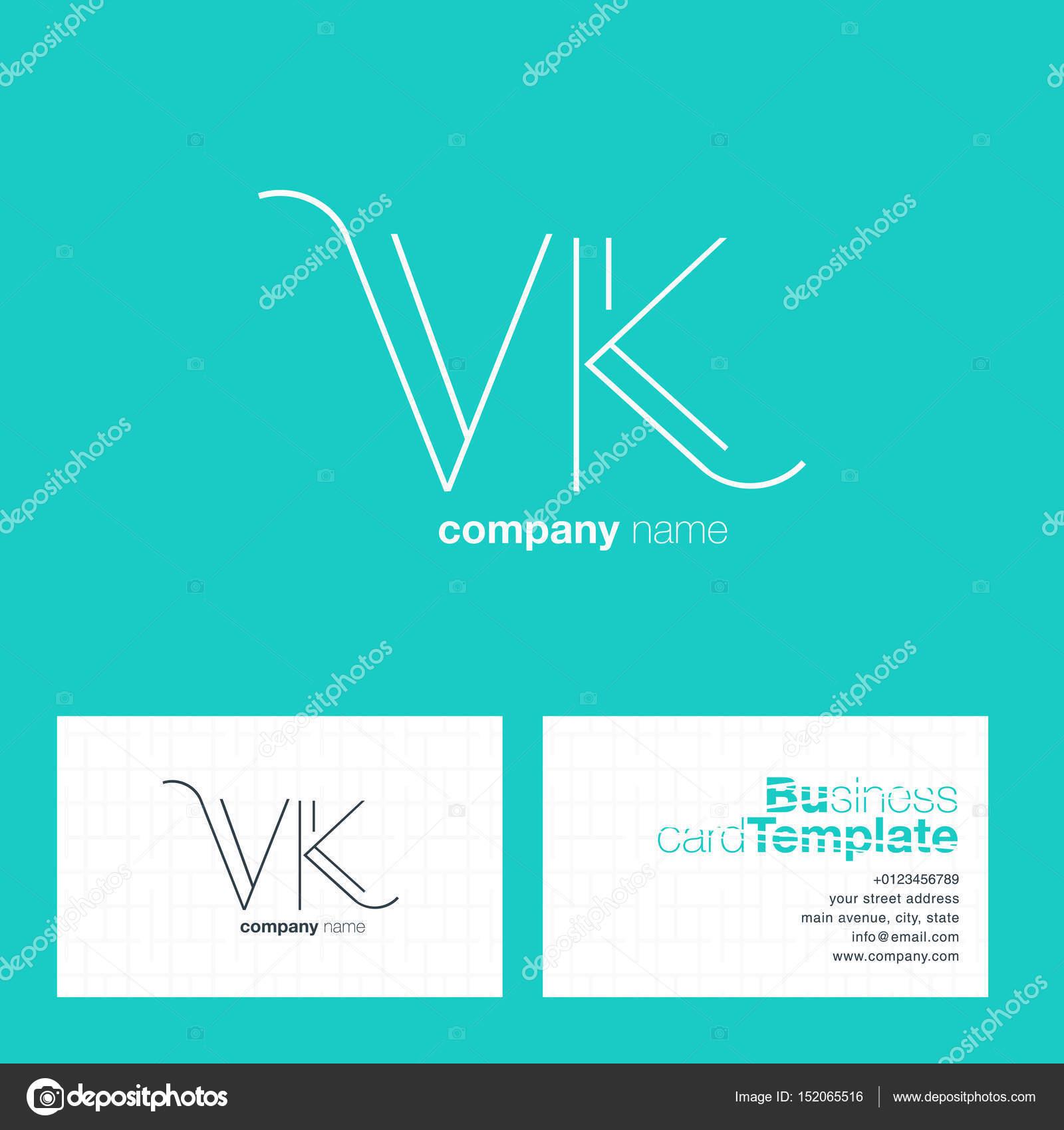 Vk Letters Logo Business Card Stock Vector Brainbistro 152065516