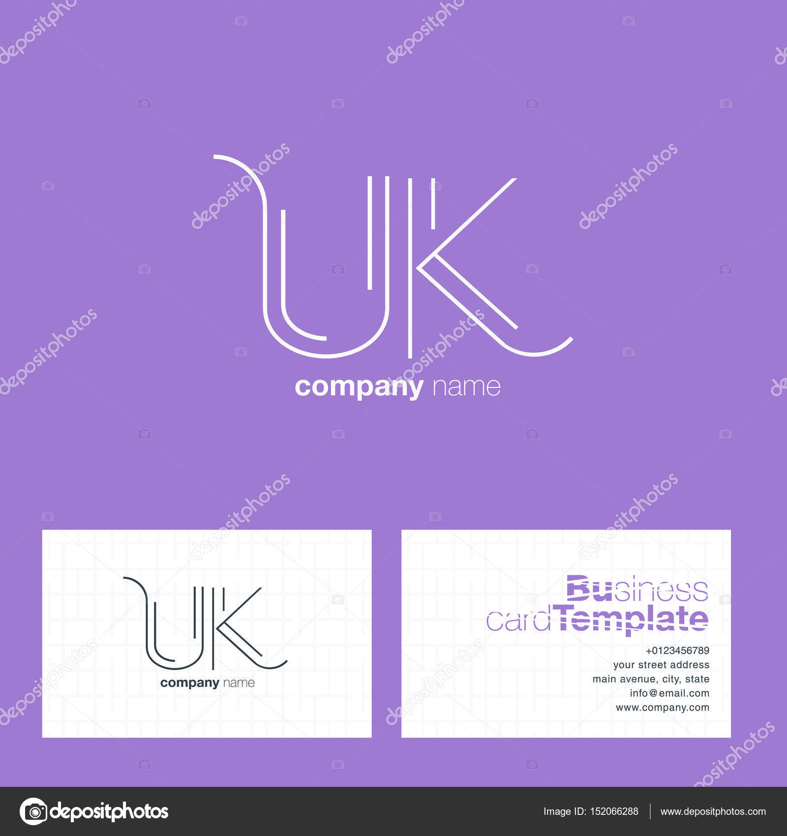 Uk letters logo business card stock vector brainbistro 152066288 uk line letters logo with business card template vector vector by brainbistro colourmoves