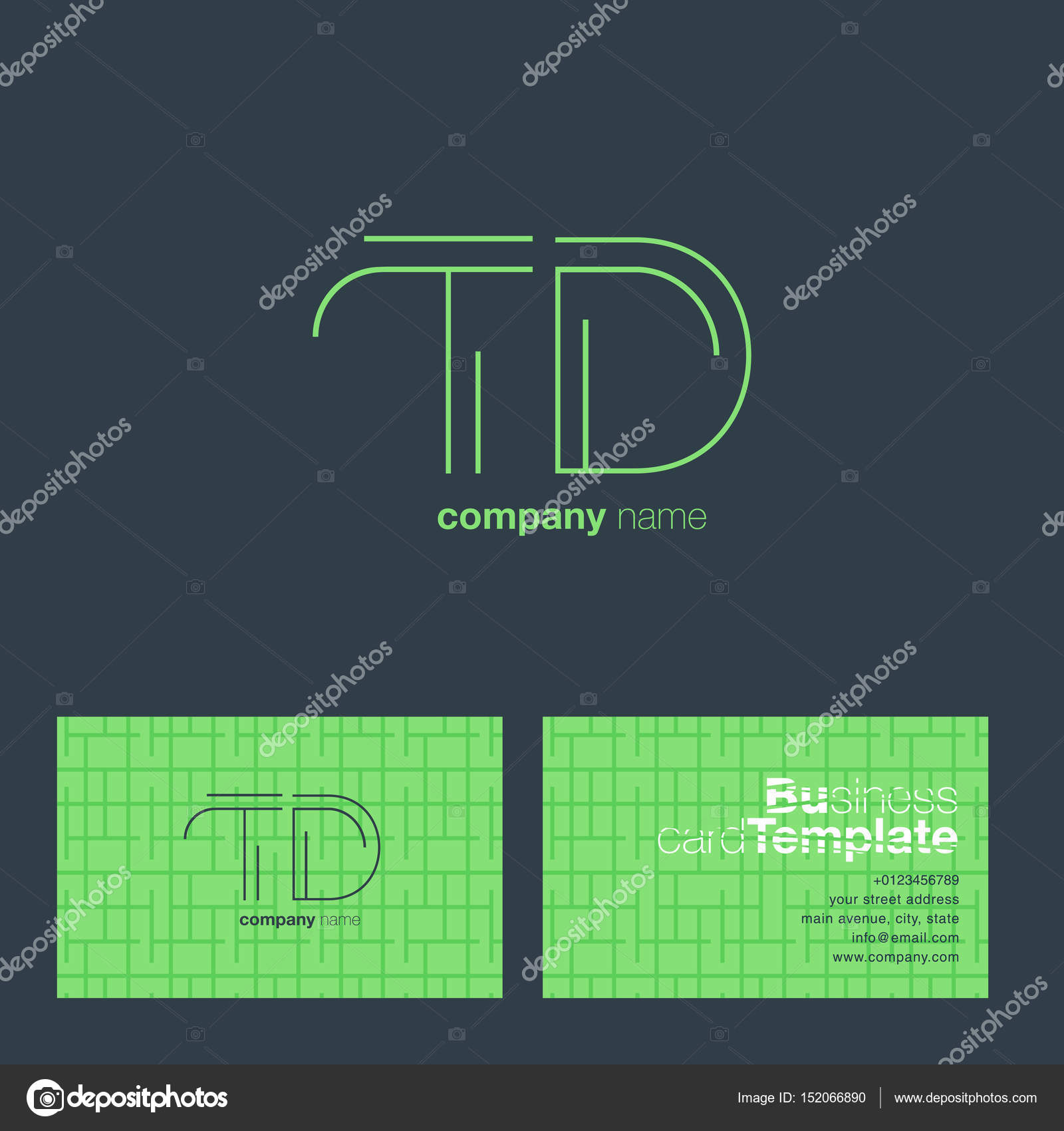 TD Letters Logo Business Card — Stock Vector © brainbistro #152066890