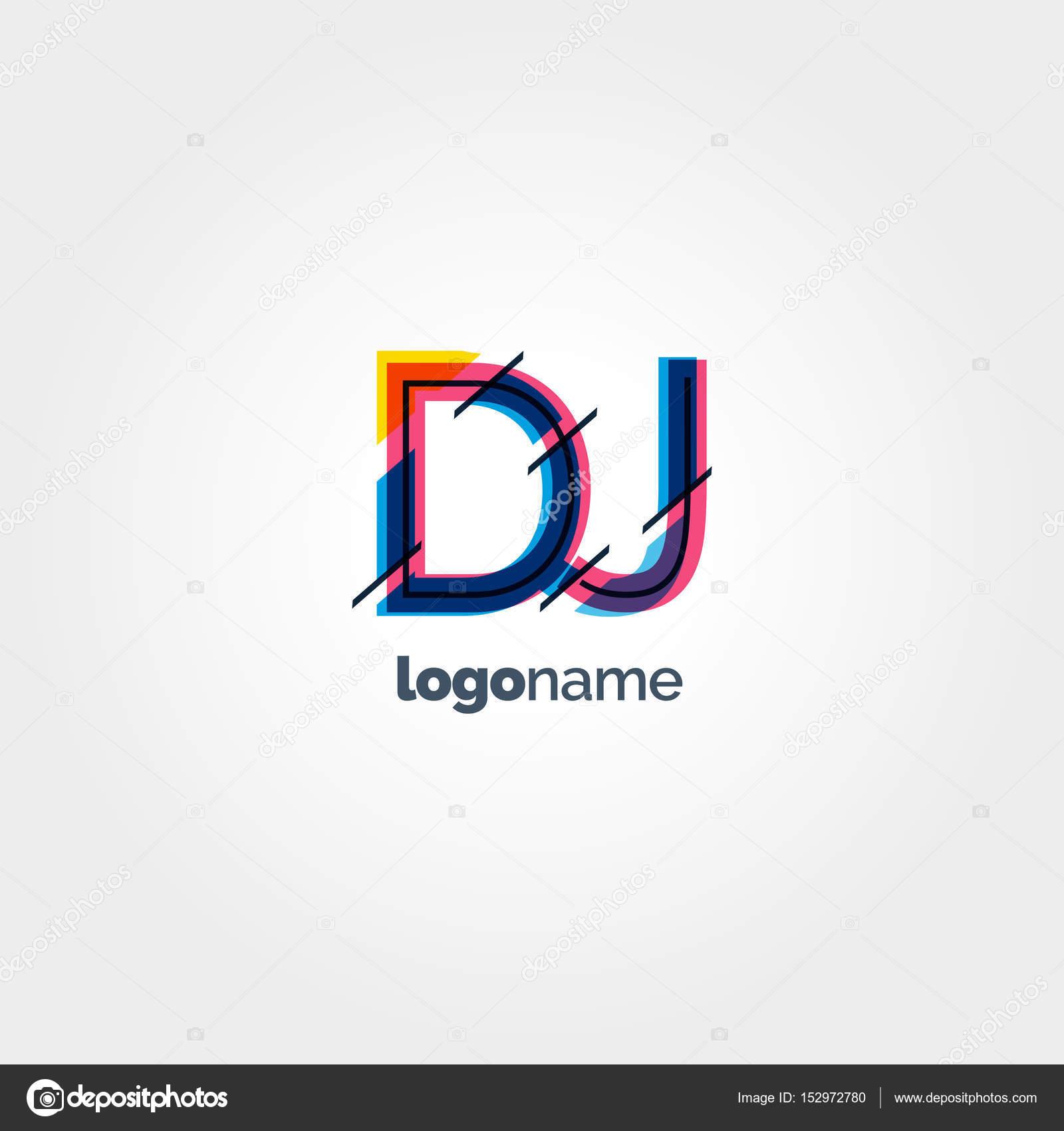 DJ multicolour letters logo — Stock Vector © brainbistro #152972780