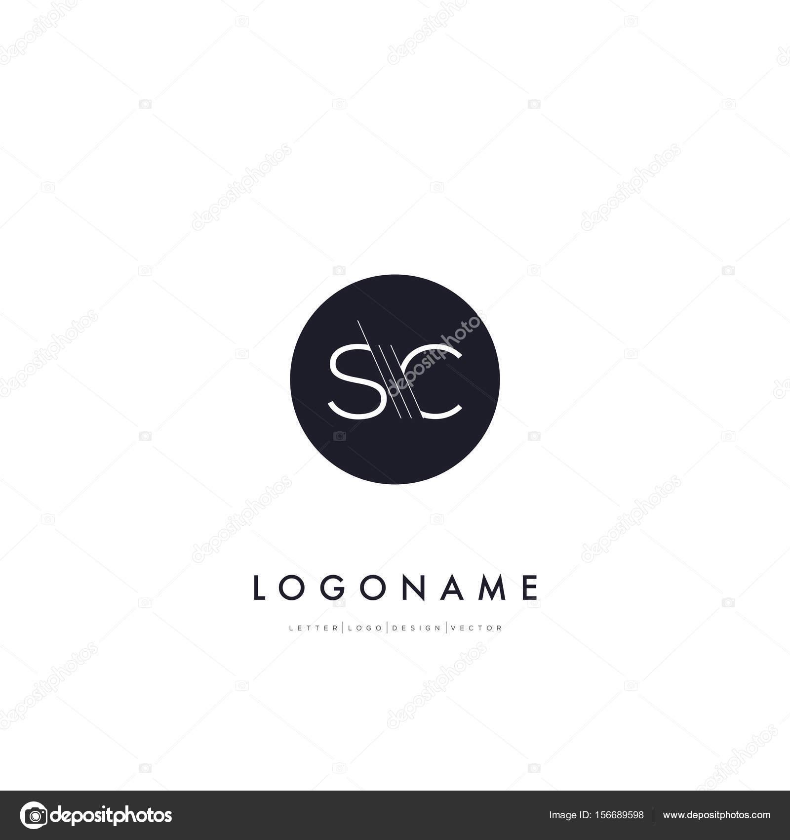 Linie Schneiden Buchstaben Logo Sc Stockvektor