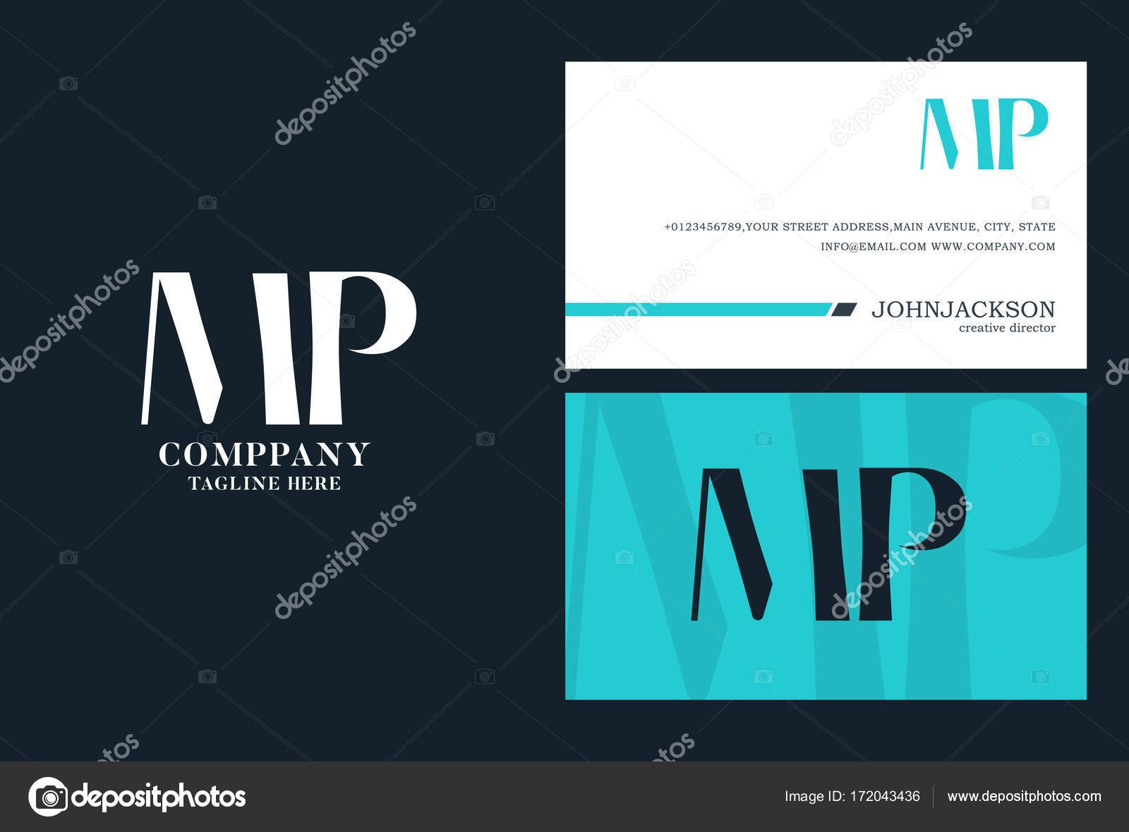 Articulation MP Lettres Logo Modle De Carte Visite Vecteur Par Brainbistro