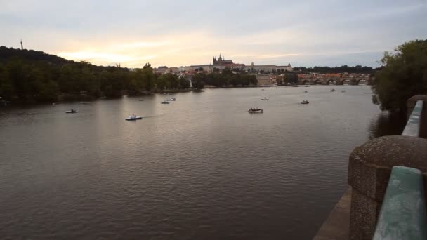 Panoramic view of Prague castle with Charles bridge and the river Vltava