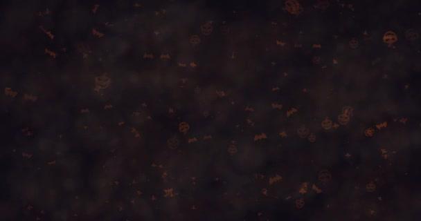 Tmavě kulise Halloween dýně, netopýry, duchy a pavouci