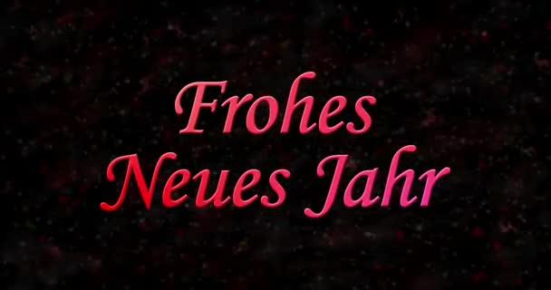 Frohes neues Jahr Text aus Staub geformt und horizontal zu Staub auf schwarzem animierten Hintergrund