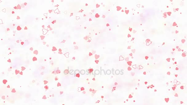 Happy Valentines Day text in French Joyeuse Saint Valentin formed from dust and turns to dust horizontallyon light background