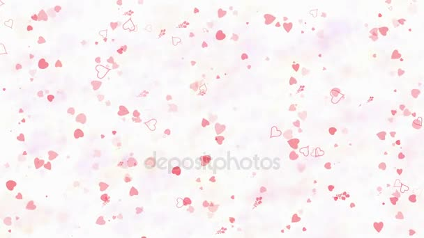 Happy Valentines Day text in Japanese formed from dust and turns to dust horizontallyon light background