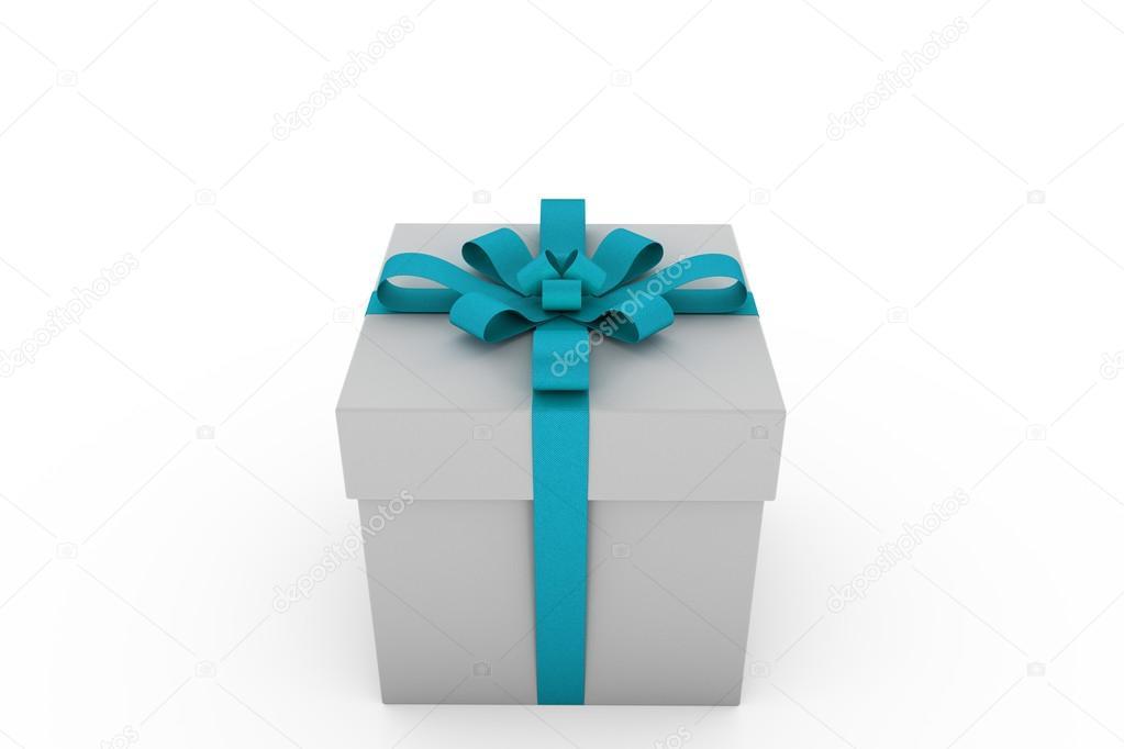 Weißen Geschenkbox mit Licht blau Schleife — Stockfoto © eZebolov ...