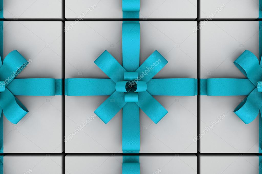 Weiße Geschenk-Boxen mit Licht blau Schleife — Stockfoto © eZebolov ...