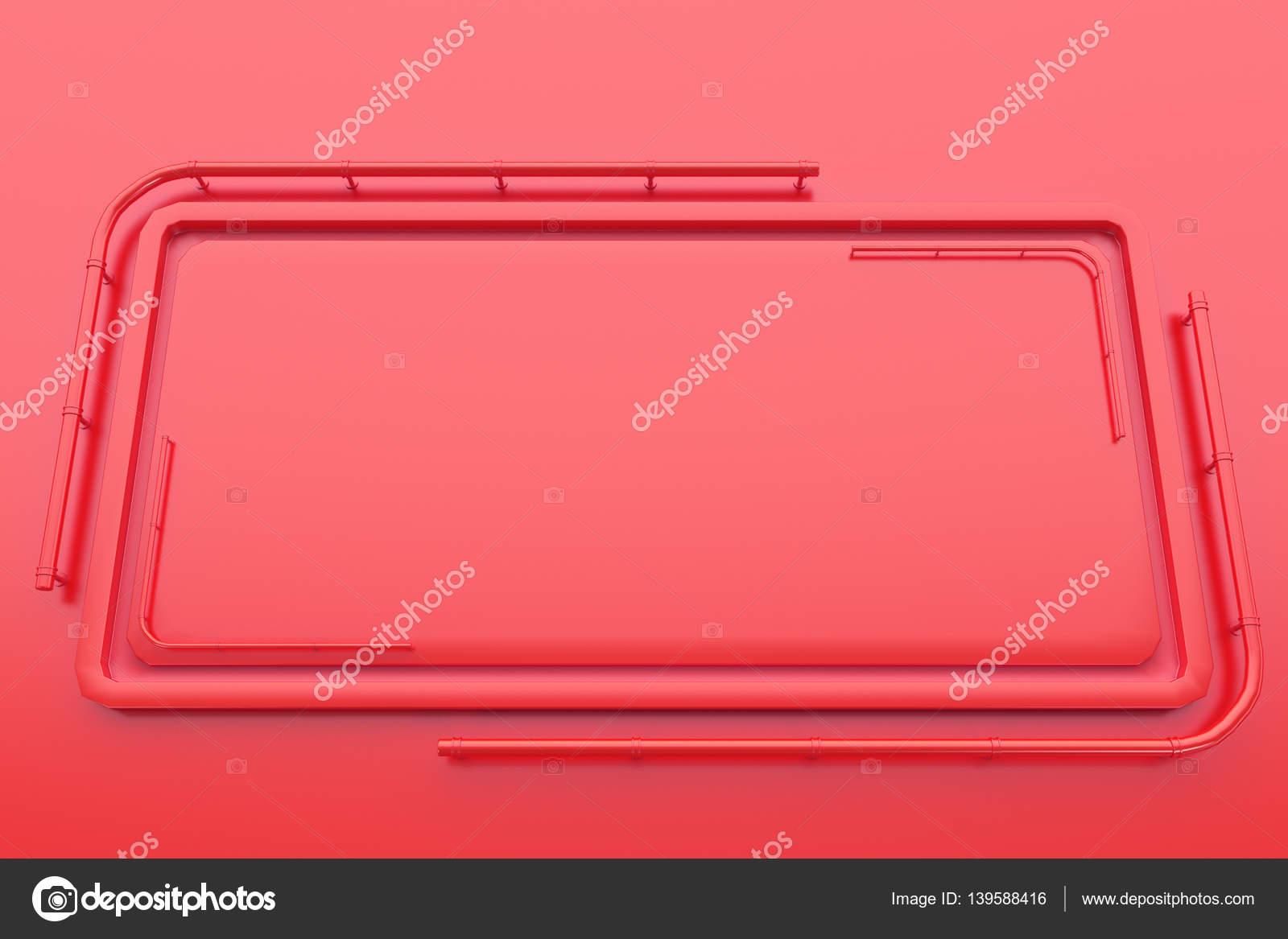 Rechteckige Glanzend Farbige Teller Mit Ecken Aus Rohren Stockfoto