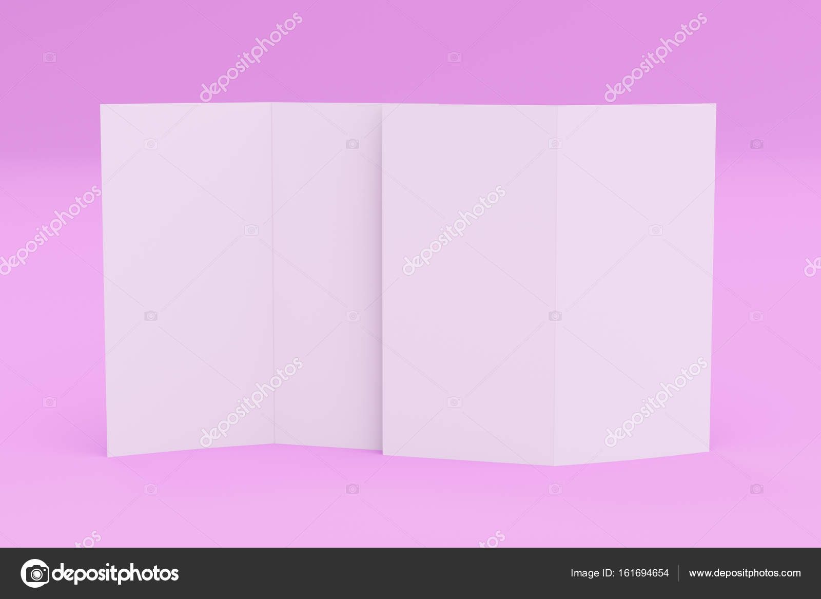 blank white two fold brochure mockup on violet background stock