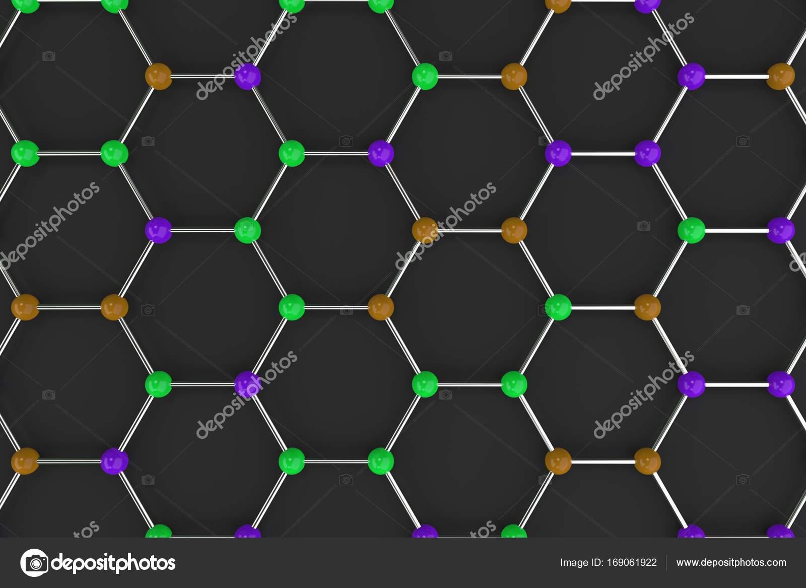 Estrutura Atômica Do Grafeno Em Fundo Preto Stock Photo