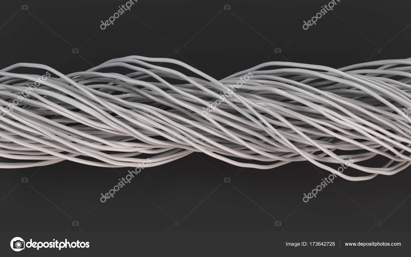 Twisted white cables and wires on black surface — Stock Photo ...