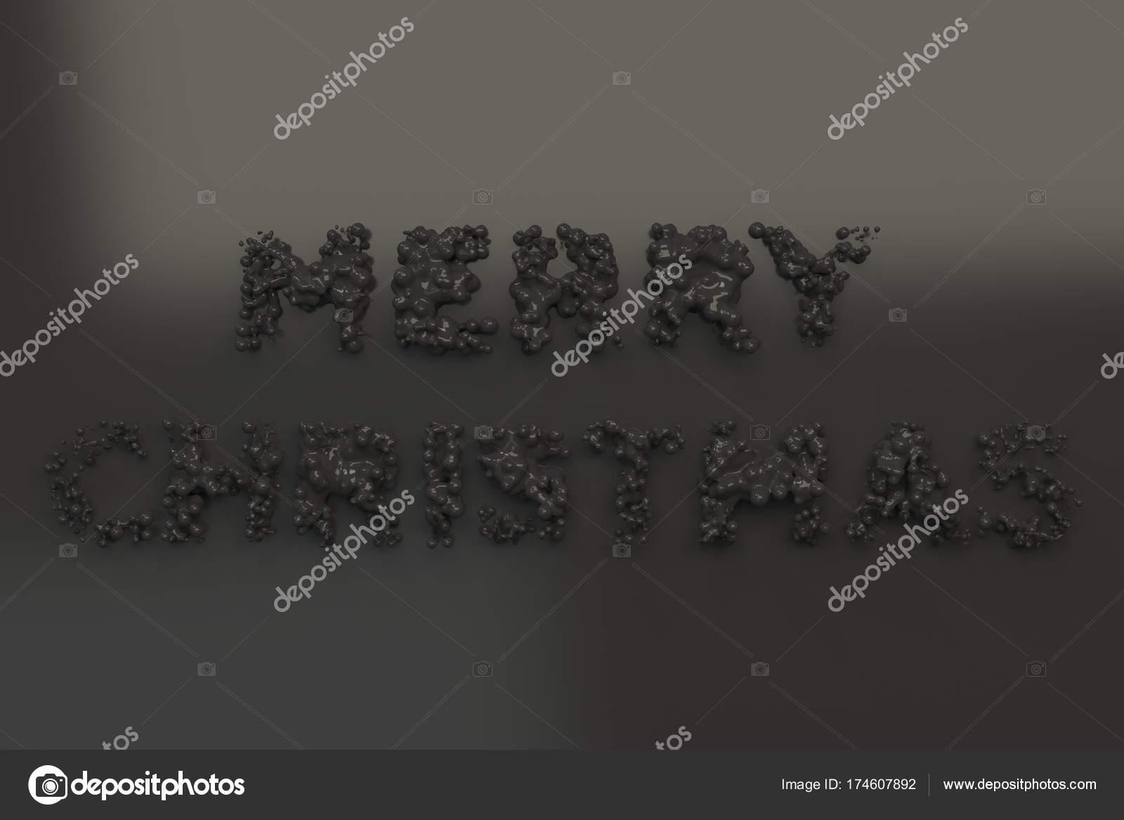 Flüssige schwarze Frohe Weihnachten Worte mit Tropfen auf schwarzen ...