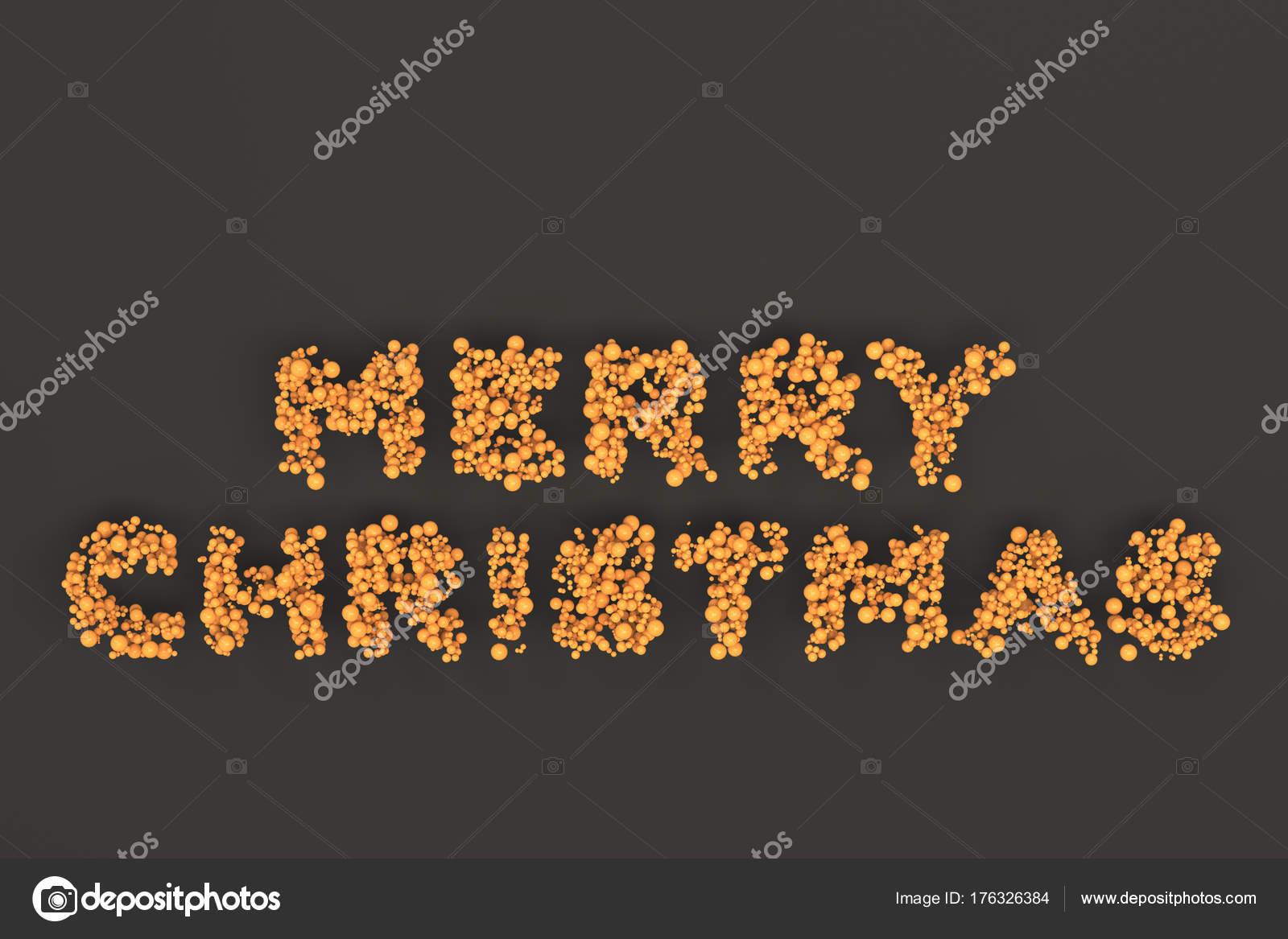 Frohe Weihnachten-Worte von orange Kugeln auf schwarzem Hintergrund ...