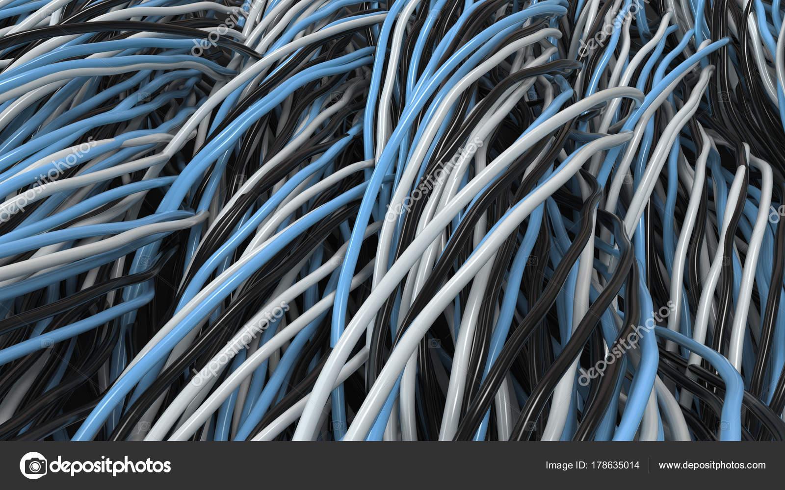 Schwarze, weiße und blaue Kabel und Leitungen verdreht auf schwarze ...