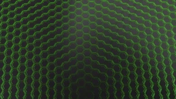Abstrakten technologischen Hintergrund glühende Sechsecke gemacht. Wand aus Sechsecken. 3D Render-illustration