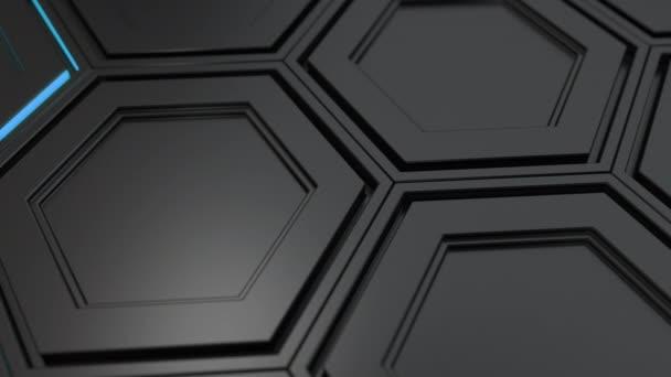 Abstrakte technologischen Hintergrund gemacht aus schwarzen Sechsecken mit blauen Schimmer. Wand aus Sechsecken. 3D Render-illustration