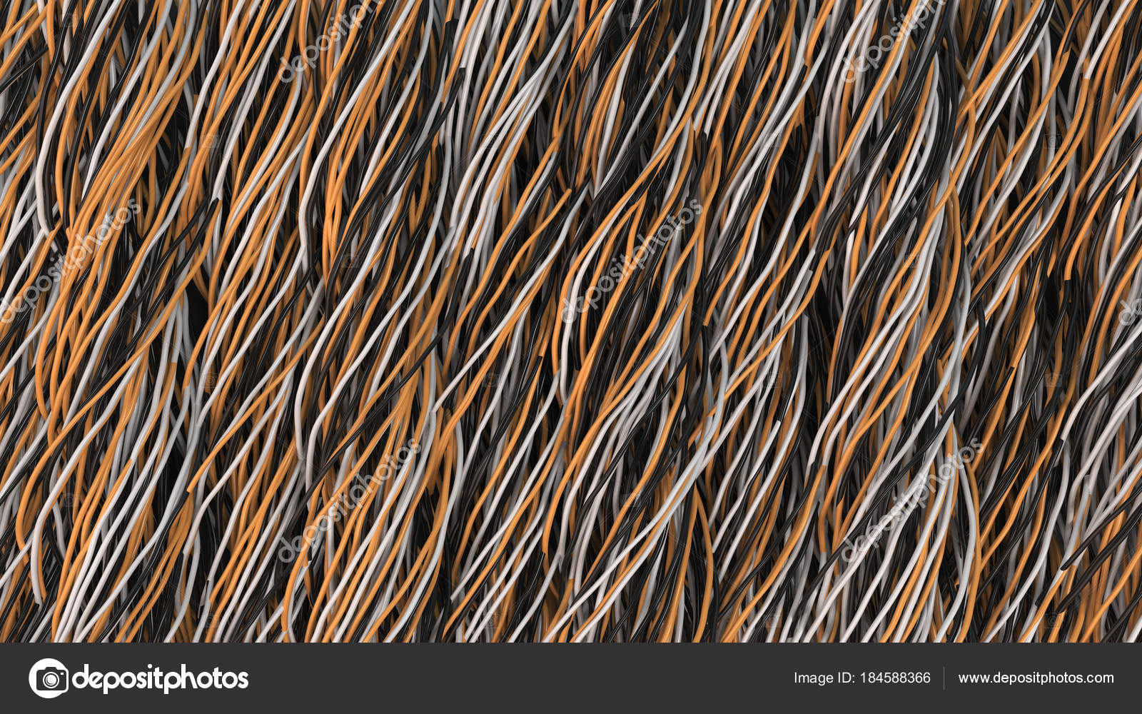 Twisted Black White And Orange Cables Wires On Surfac Wiring Silver Gold Stock Photo