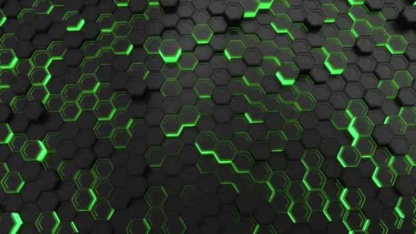 Abstrakte technologischen Hintergrund gemacht aus schwarzen Sechsecken mit grün leuchten. Wand aus Sechsecken. 3D Render-illustration