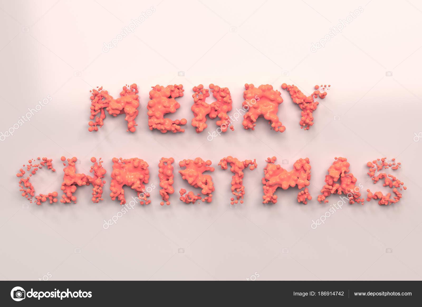Flüssige rot Frohe Weihnachten-Wörter mit Tropfen auf weißem ...