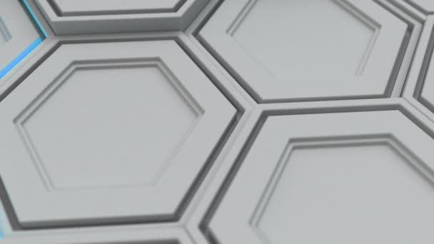 Abstrakte technologischen Hintergrund gemacht aus weißen Sechsecken mit blauen Schimmer. Wand aus Sechsecken. 3D Render-illustration