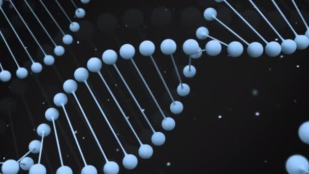 Matná modrá model řetězec DNA na černém pozadí. Spirála Dna šroubovice. 3D vykreslování obrázku