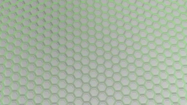 Abstrakte technologischen Hintergrund gemacht aus weißen Sechsecken mit grün leuchten. Wand aus Sechsecken. 3D Render-illustration