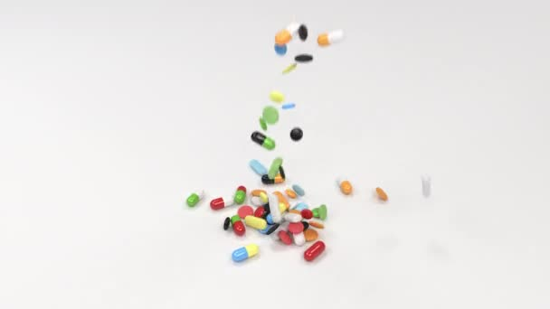 Pile of colorful medicine pills on white background. Pills falling on table. Medical, healthcare or pharmacy concept. 3D rendering illustration