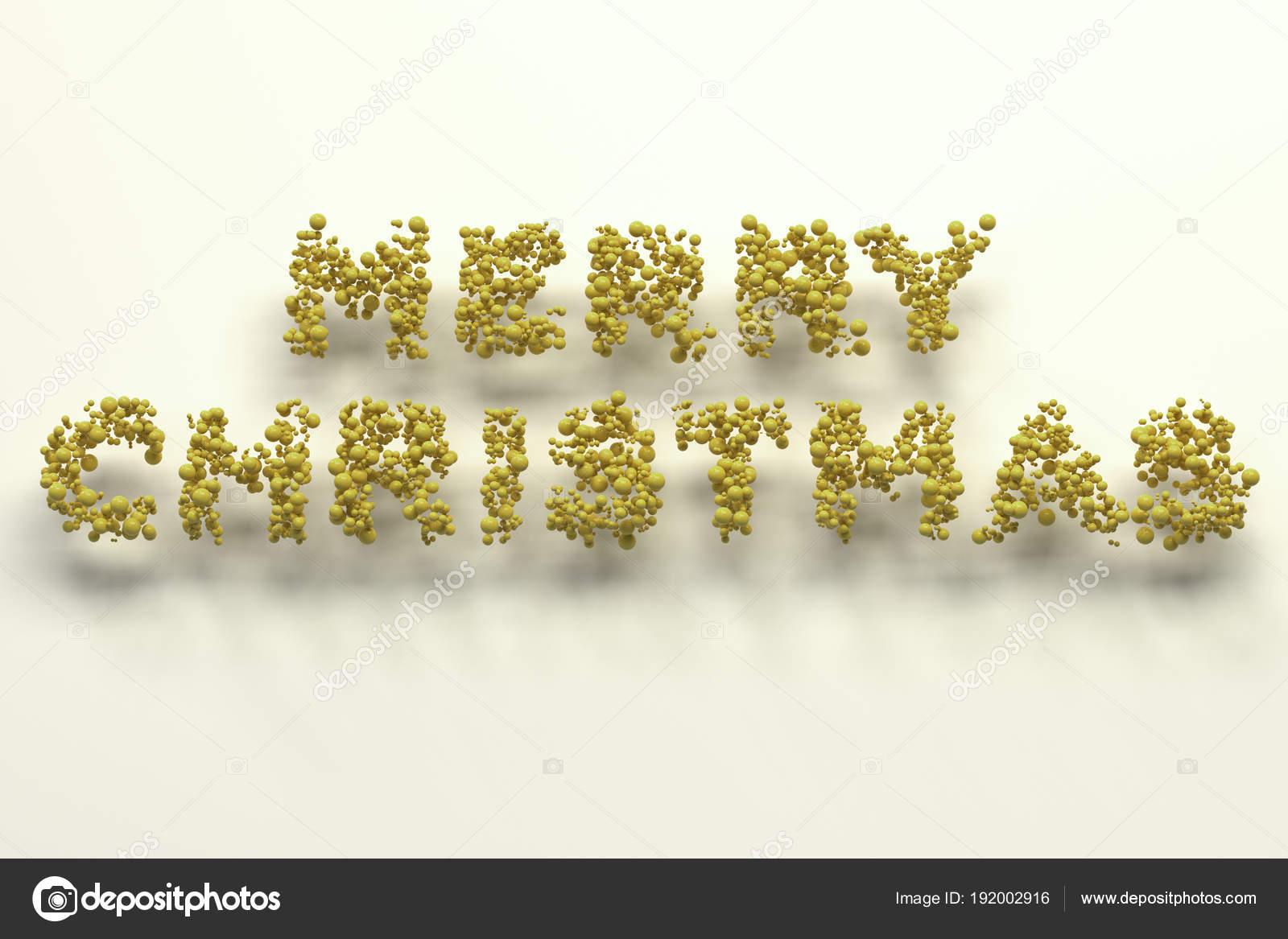 merry christmas words from yellow balls on white background stock photo