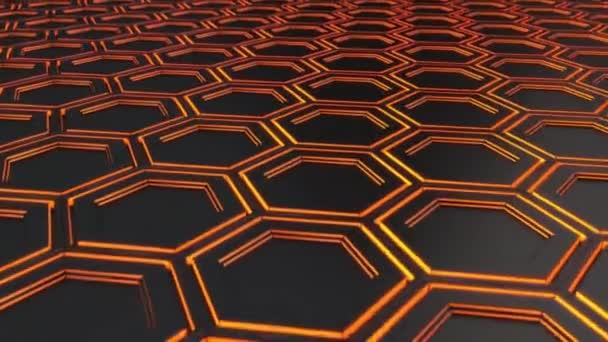 abstrakter technologischer Hintergrund aus schwarzen Sechsecken mit orangefarbenem Schein. Wand aus Sechsecken. 3D-Darstellung