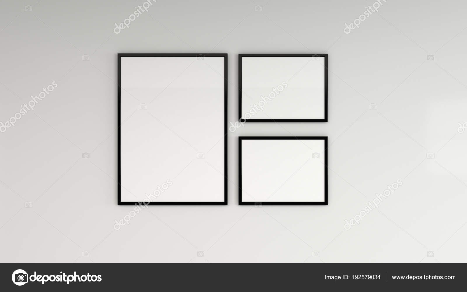 black frame. Blank White Poster In Black Frame On The Wall \u2014 Stock Photo