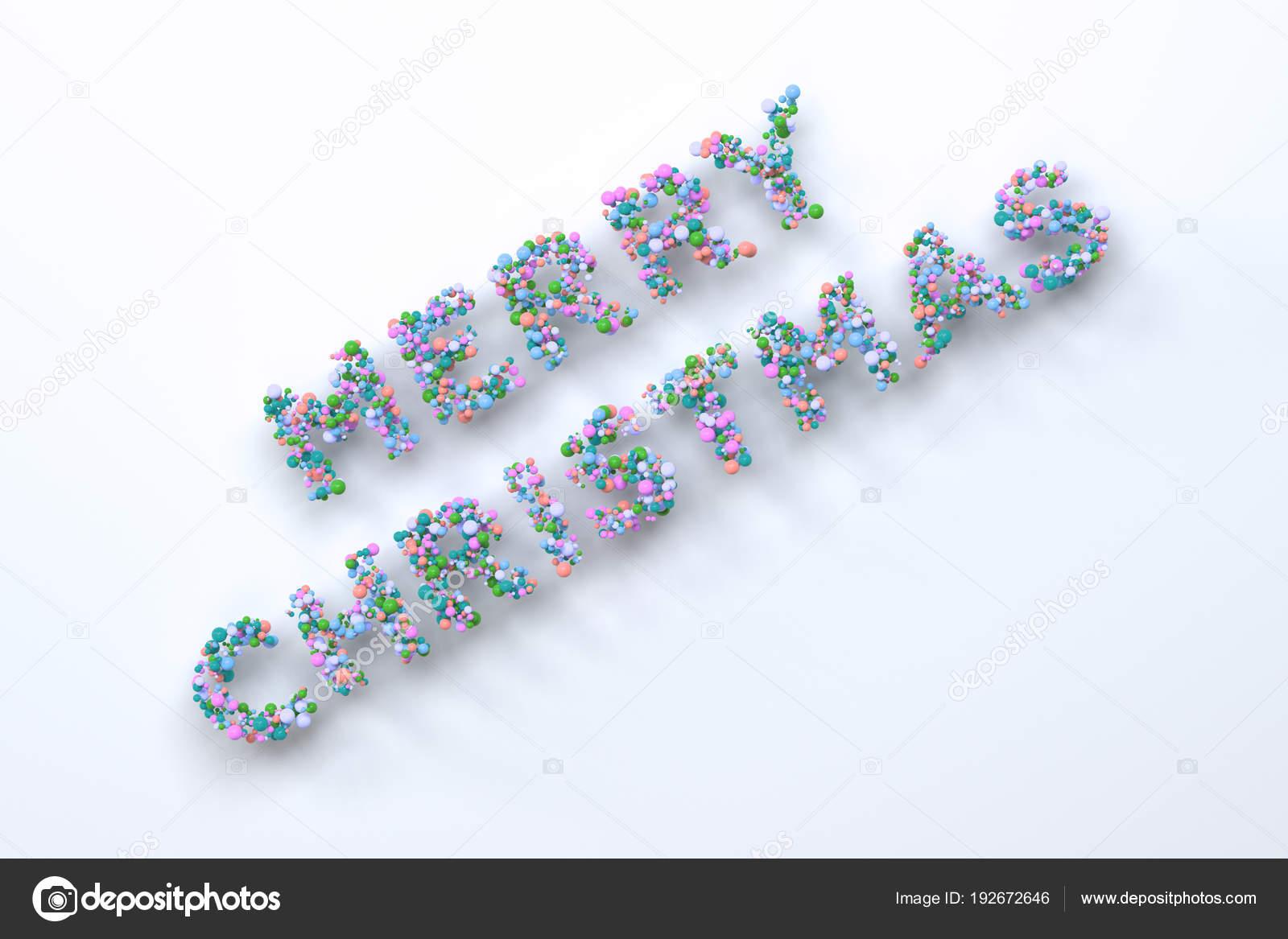 Frohe Weihnachten-Wörter aus bunten Kugeln auf weißem Hintergrund ...