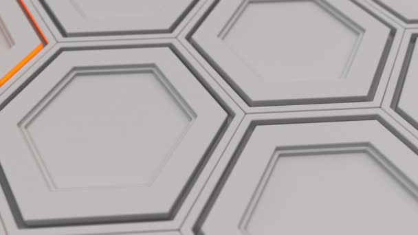 Abstrakte technologischen Hintergrund gemacht aus weißen Sechsecken mit orange leuchten. Wand aus Sechsecken. 3D Render-illustration