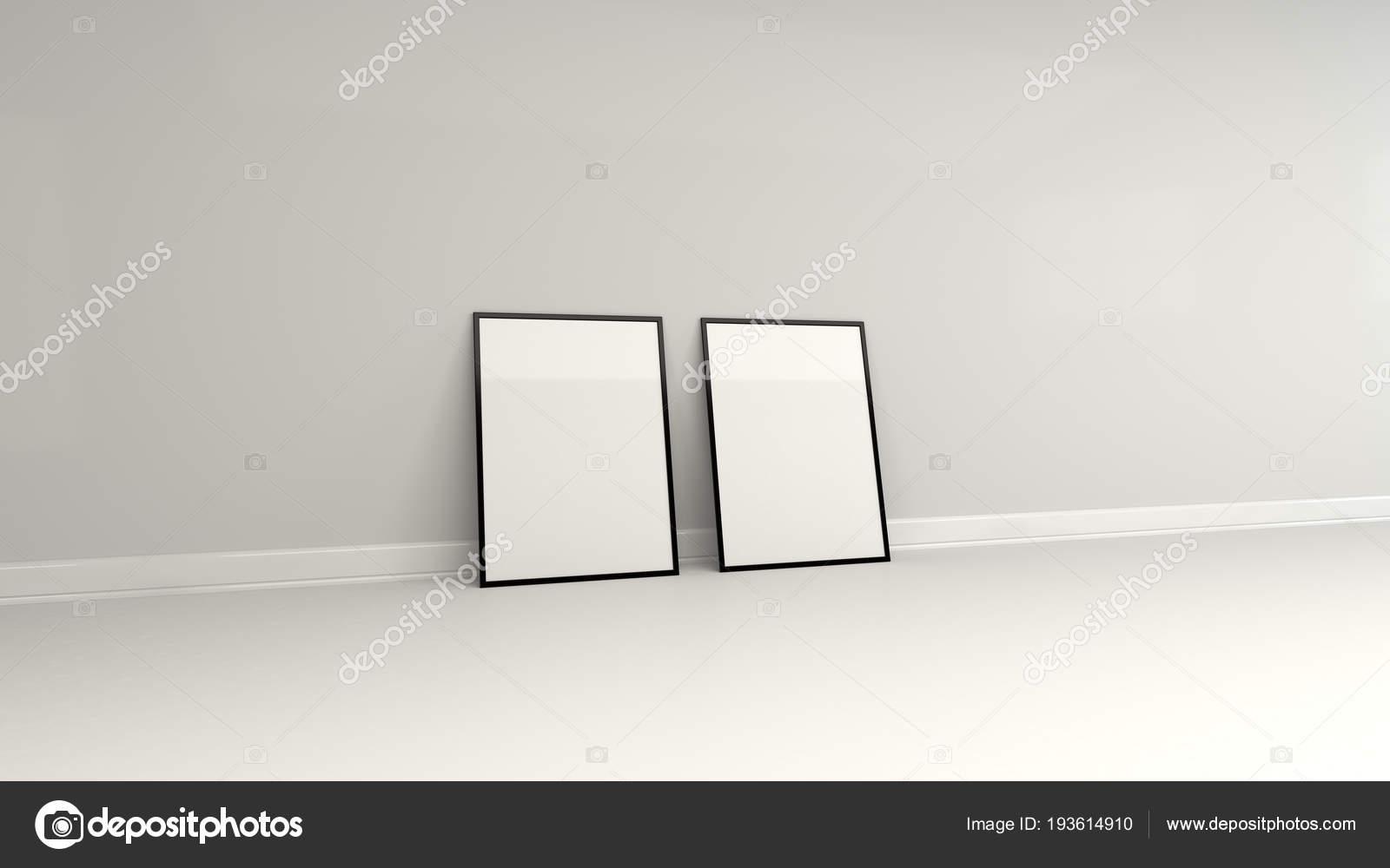 Blank white poster in black frame standing on the floor — Stock ...