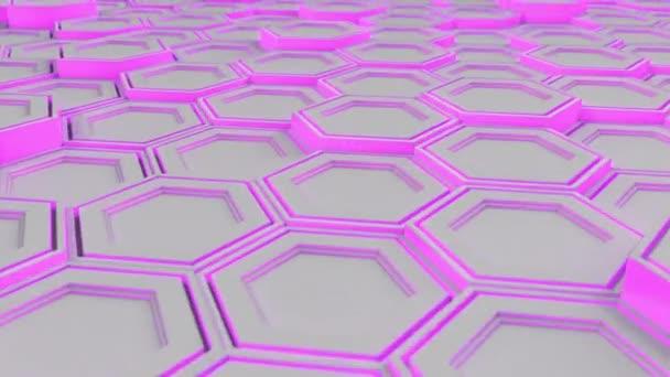 Abstrakte technologischen Hintergrund gemacht aus weißen Sechsecken mit lila Schimmer. Wand aus Sechsecken. 3D Render-illustration