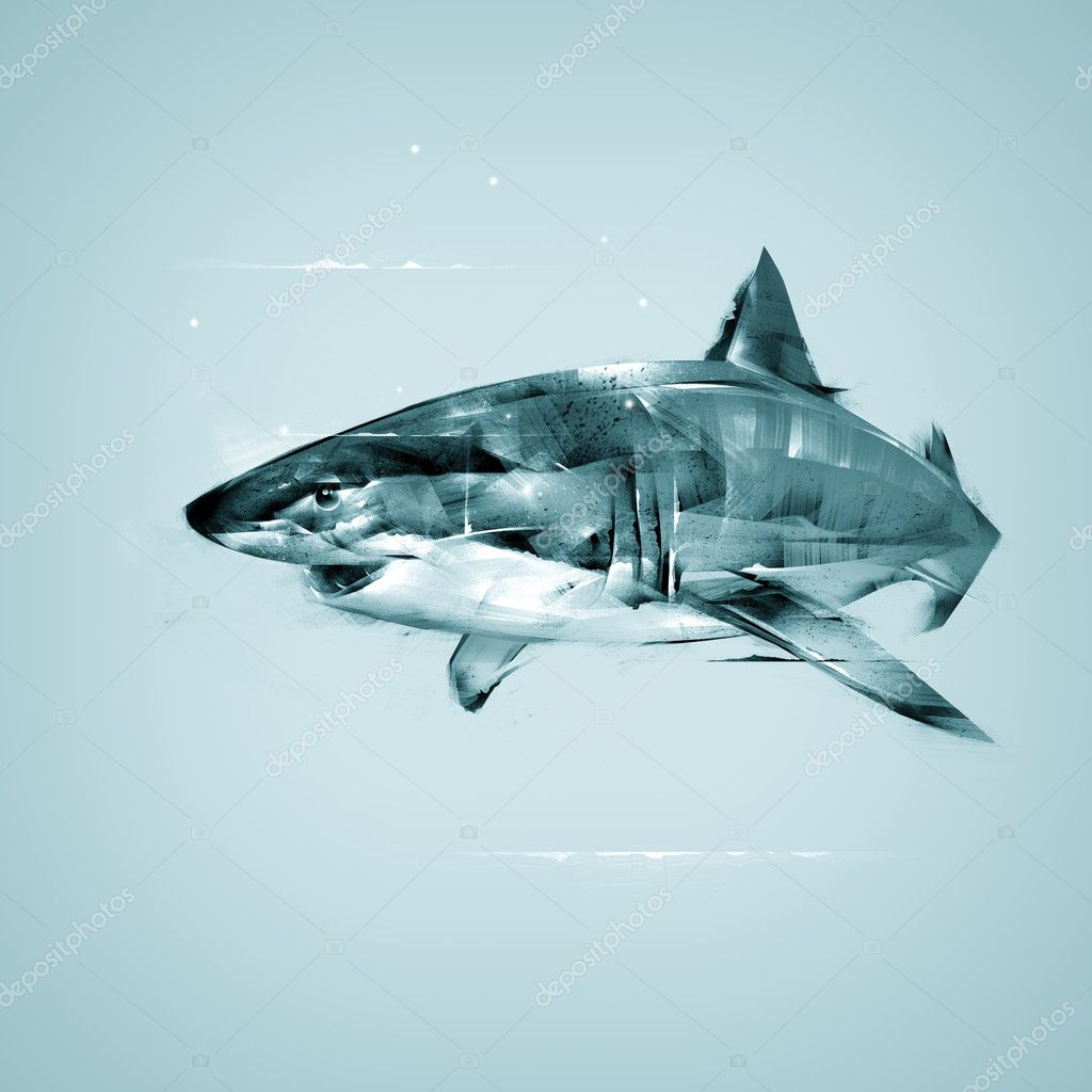Realistic Drawing Sharks Stock Photo C Khius 126061972